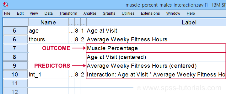 SPSS Moderation Regression Variable View