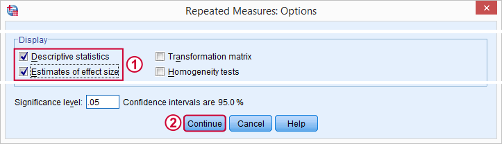 SPSS Repeated Measures ANOVA Options Subdialog