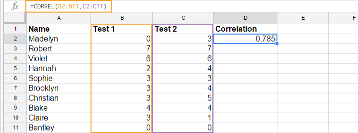 Correlation Coefficient in Google Sheet