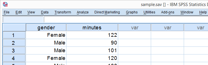 Independent Samples T-Test Sample Data View