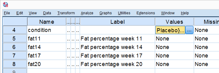 Levene's Test in SPSS - Example Data Variable View