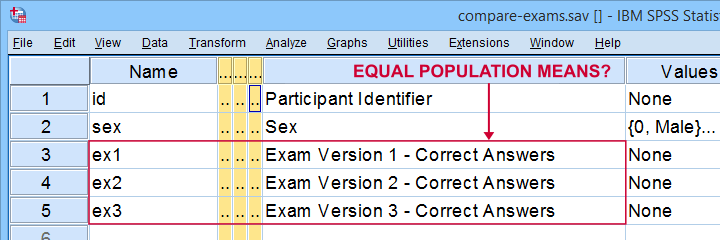 Paired Samples T-Test Example Data