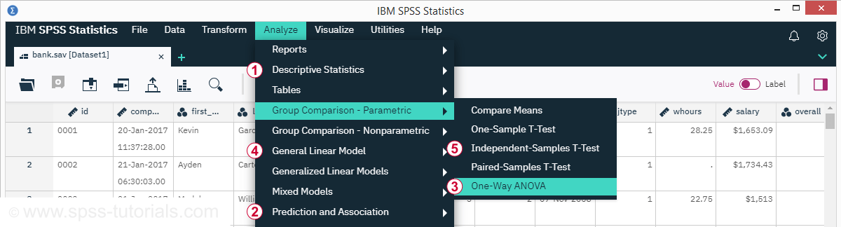 SPSS 26 Analyze Menu