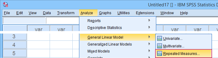 SPSS Analyze Glm Repeated Measures