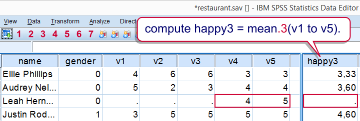 SPSS - Computing Means over Variables