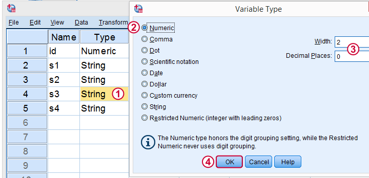 SPSS Convert String To Numeric Variable In Variable View
