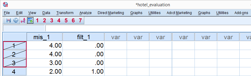 SPSS Filtered Cases in Data View
