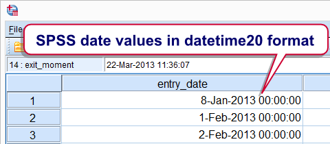 SPSS Date Values in Datetime Format