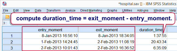 SPSS Datetime Compute Duration
