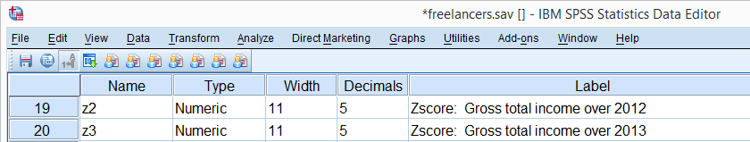 SPSS DESCRIPTIVES Z-Scores