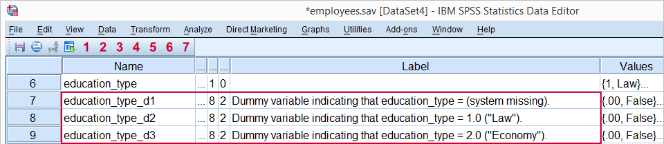 SPSS Dummy Variables Tool - Result