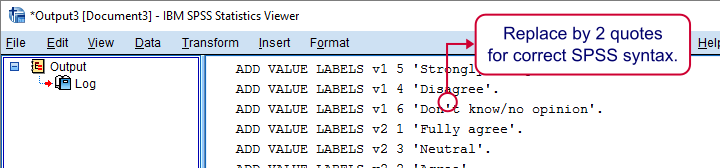 SPSS Escape Single Quote With Two Single Quotes