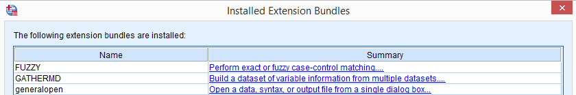 SPSS Extension Bundle Overview
