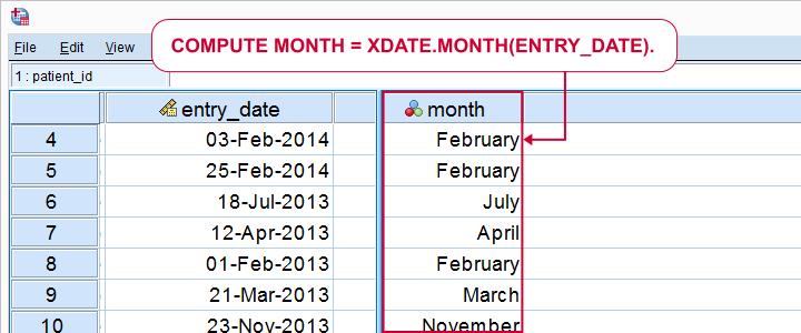SPSS - Extract Month from Date Syntax and Screenshot