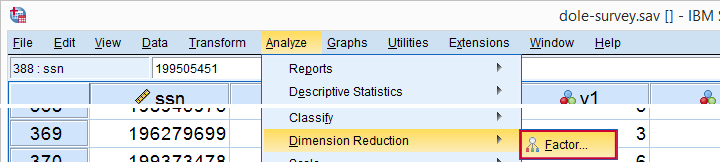 SPSS Factor Analysis - Analyze - Dimension Reduction - Factor