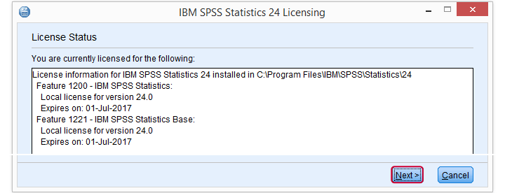 SPSS License Authorization Wizard 2