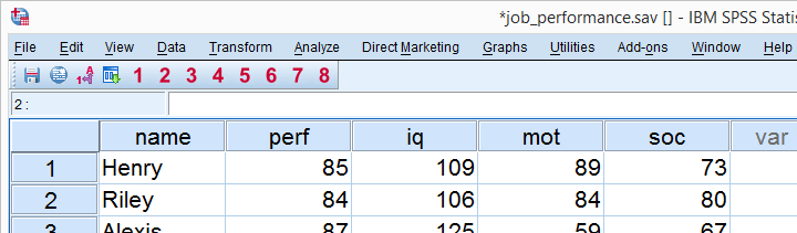 SPSS Regression Example - Data View