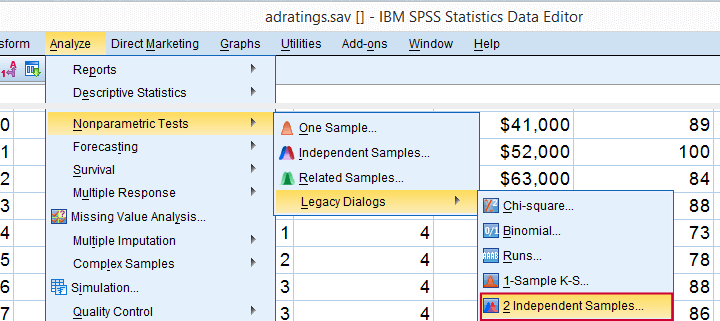 SPSS Mann-Whitney Test - Analyze, Nonparametric Tests, Legacy Dialogs, 2 Independent Samples