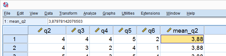 SPSS Mean Center Variable Mean Added To Dataset