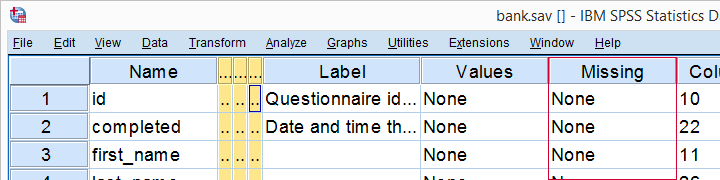 No User Missing Values Set in Variable View