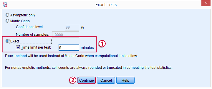 SPSS Nonparametric Tests Exact Dialog