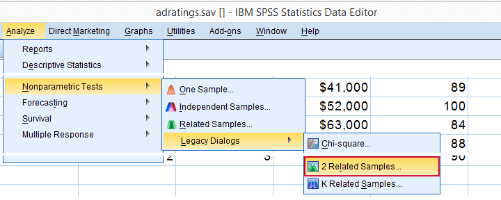 SPSS Nonparametric Tests - 2 Related Samples