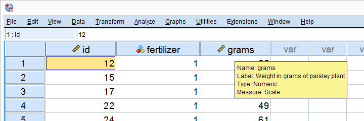 Screenshot of Data View Parsley Plant Experiment
