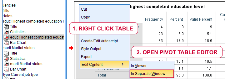 SPSS - Open Pivot Table Editor Window by Right Clicking Output Table