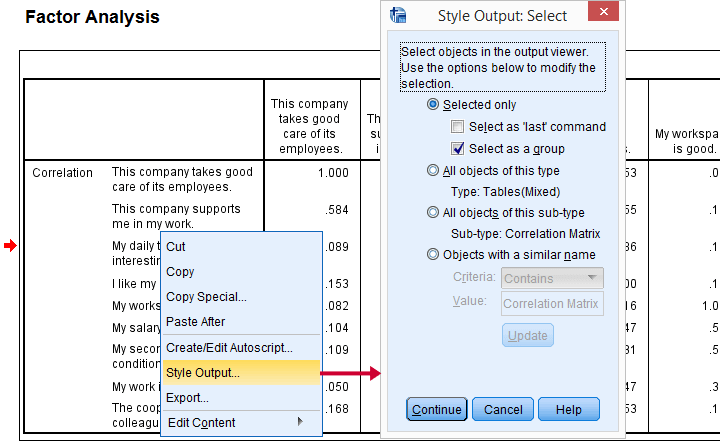 SPSS Output Modify Right Click Output Item