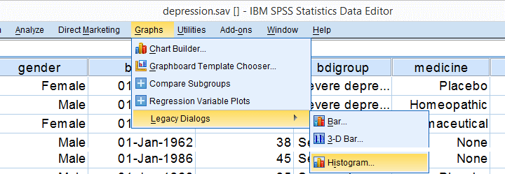 Creating a Split Histogram in SPSS - Step 1