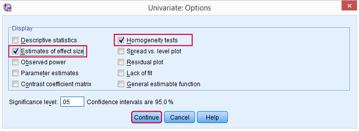 Post Hoc ANOVA - Options Dialog