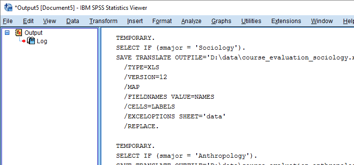SPSS Python Save Translate Commands In Output
