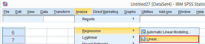 SPSS Regression Menu Empty