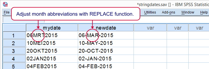 SPSS REPLACE Function Example