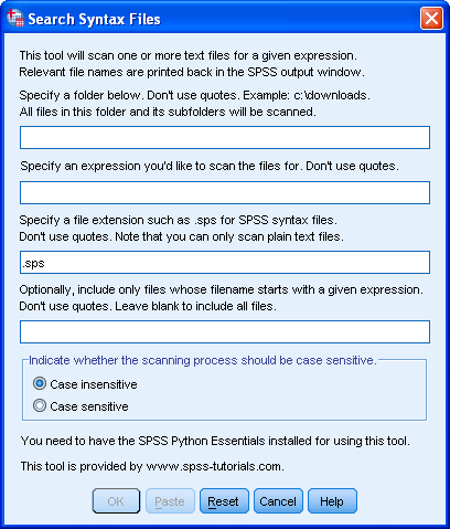 SPSS Search Syntax Files Tool