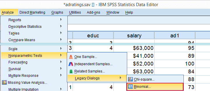 SPSS Sign Test for One Median -