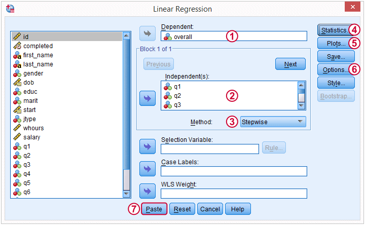 SPSS Stepwise Regression Dialog 1