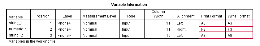 SPSS String Variable Formats