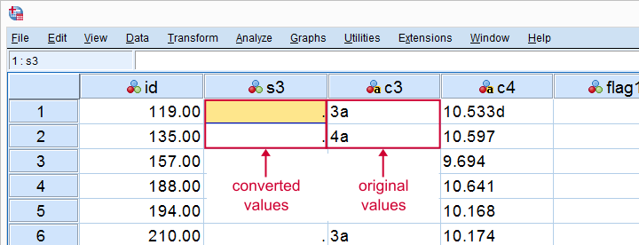SPSS String To Numeric Conversion Failures Data View