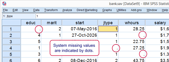 SPSS System Missing Values In Data View Example Bank