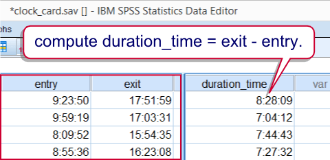 SPSS Time Difference Example