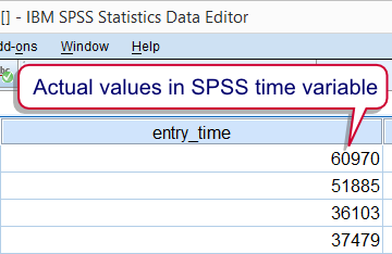 SPSS Time Variable Actual Values