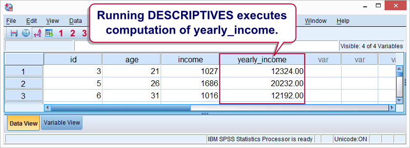 SPSS Transformations Executed