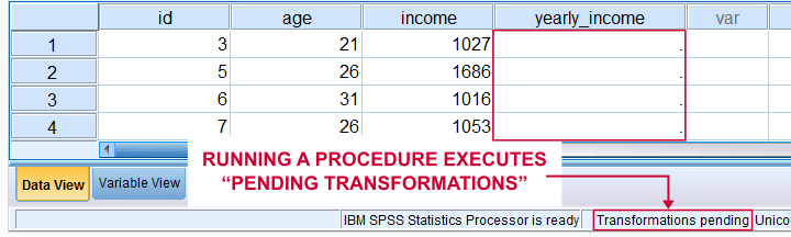 SPSS Transformations Pending