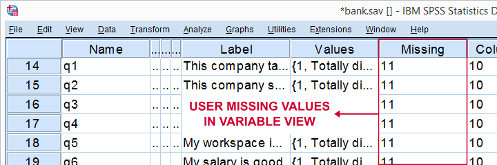 SPSS User Missing Values In Variable View