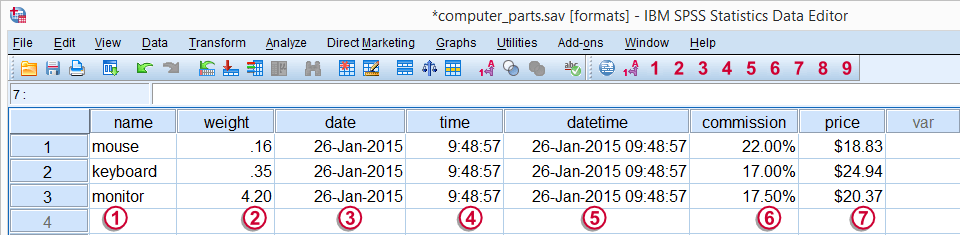 SPSS Variable Types and Formats