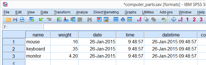 SPSS Variable Types and Formats in Data View