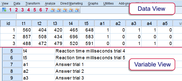 SPSS VARSTOCASES - Reaction Times