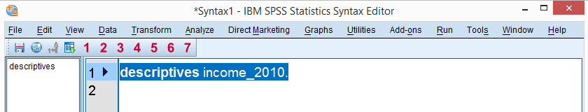 SPSS - What Is It? - Syntax Editor Window