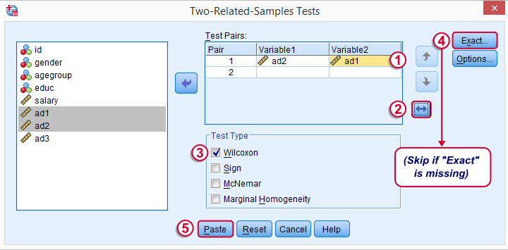 SPSS Wilcoxon Signed ranks Test - Main Dialog